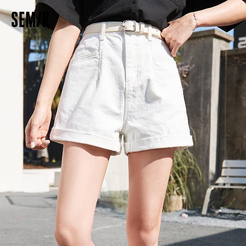 SEMIR Denim Shorts Women Comfortable Mid-Waist Belt A-Line Washed Large Pockets 2021 Summer New Classic Foundation Shorts