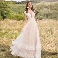 bohemian vintage wedding dresses v neck sweep train off shoulder lace buttons custom plus size bridal gowns vestidos de novia