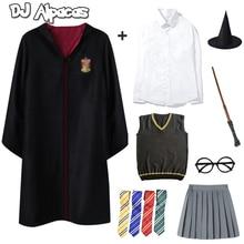 Yetişkin çocuklar Hermione pelerin Cosplay Potter kostümleri gömlek elbise Potter cadılar bayramı kostümleri Hermione okul üniforması elbise