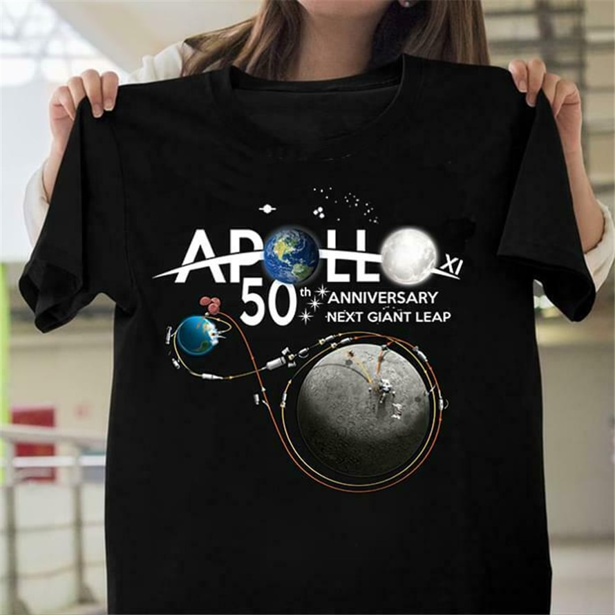 Camiseta negra de algodón para hombres S-6Xl Casual de Apolo Xi 50 aniversario próximo salto gigante