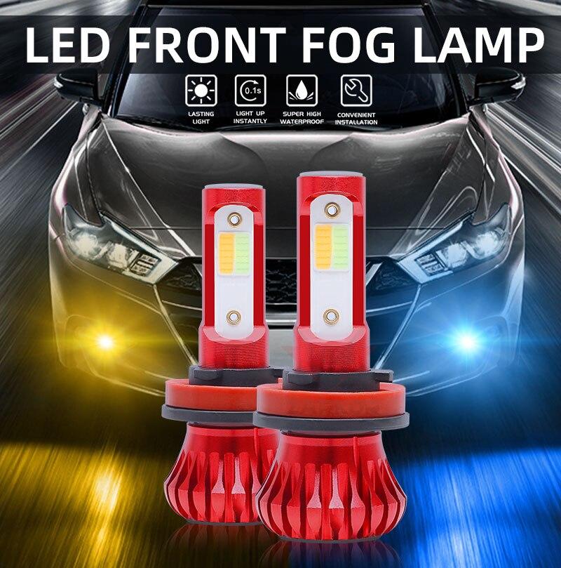 Zarkor LED luces intermitentes azul amarillo luz estroboscópica luz Flash antiniebla H1 H3 H7 H11 9005 9006 HB3 HB4 12V