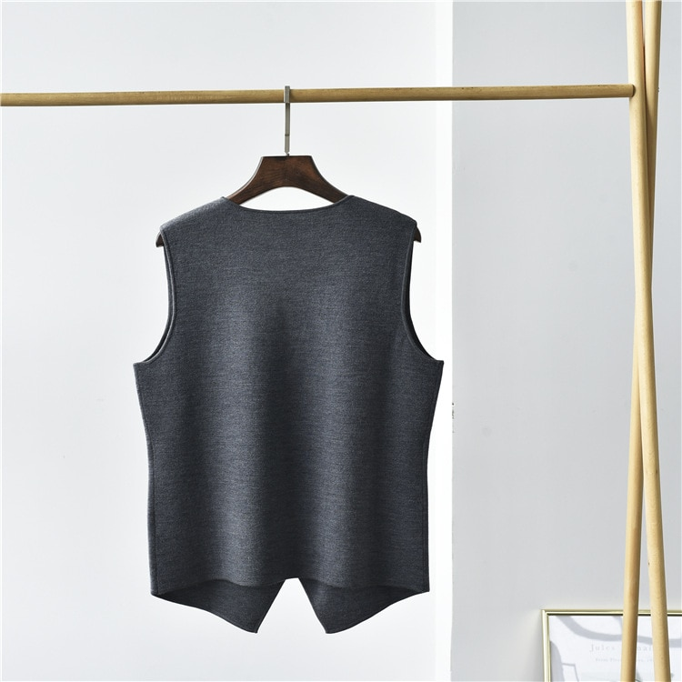 SHUCHAN Sweater Vest Women 75% Wool+25% Silk England Style  Sleeveless  V-Neck  Single Breasted  Knit Tank and Sweater enlarge