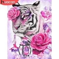 HUACAN     Kit de peinture diamant Animal tigre 5D  bricolage  broderie  point de croix  strass roses  mosaique  decor de maison