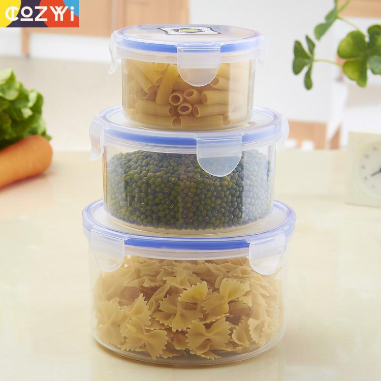 Caja de almacenamiento de almuerzo de alimentos de cocina, trajes de 3 piezas, tanque sellado de preservación de frescura, contenedor de comida Lunbox de cocina