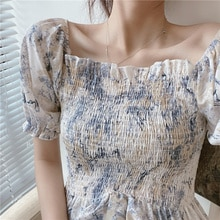 French Sweet off-Shoulder Short Top Design Female Non-mainstream Young Fairy Square-Neck Cinched Flo