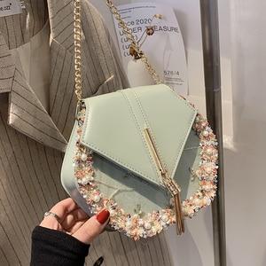 Fashion Trendy women messenger bag designer Pearl Embroidery flowers chain bag Luxury Tassel Purse Grils Crossbody Bags 2021