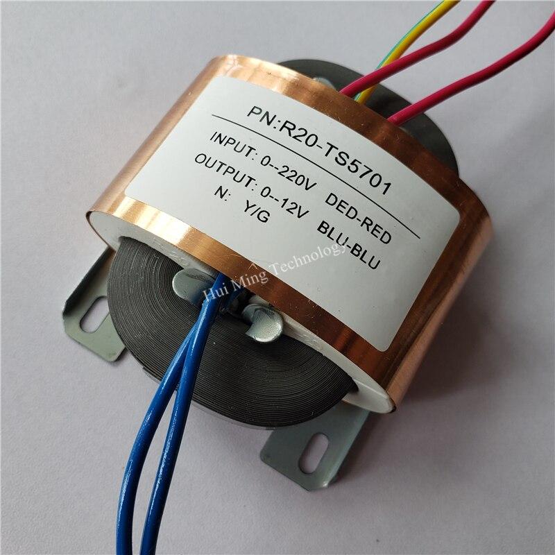 Transformador feito sob encomenda da fonte de alimentação do escudo de cobre do transformador 220 v do núcleo 30va r20 de 12 v 2.5a r transformador