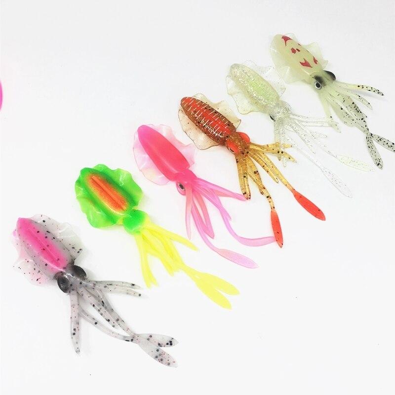 2 uds * 10/12/15cm, señuelo de calamar brillante UV, señuelo suave luminoso, pulpo, Pesca en el mar, señuelo de Pesca, señuelo de atún