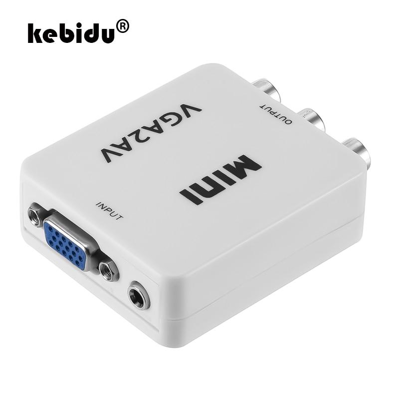 Kebidu мини VGA К AV RCA конвертер + 3,5 мм аудио VGA2AV/CVBS адаптер для ПК к ТВ HD компьютер для ТВ 1080P VGA к аудио-видео конвертер