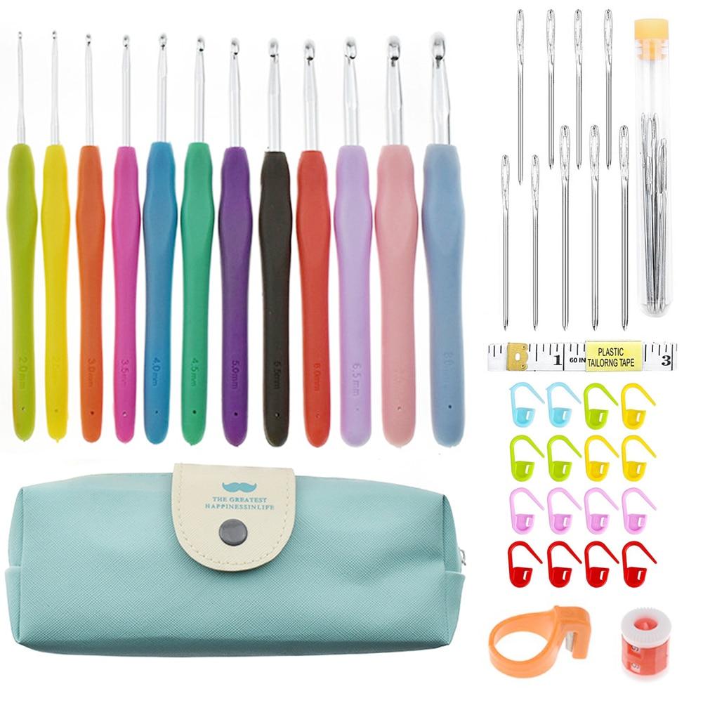 Juegos de ganchos de ganchillo, conjunto completo de agujas para manualidades puntadas de tejer estuche para manualidades conjunto de ganchillo Utensilios de costura herramienta de costura artes artesanales Stitch