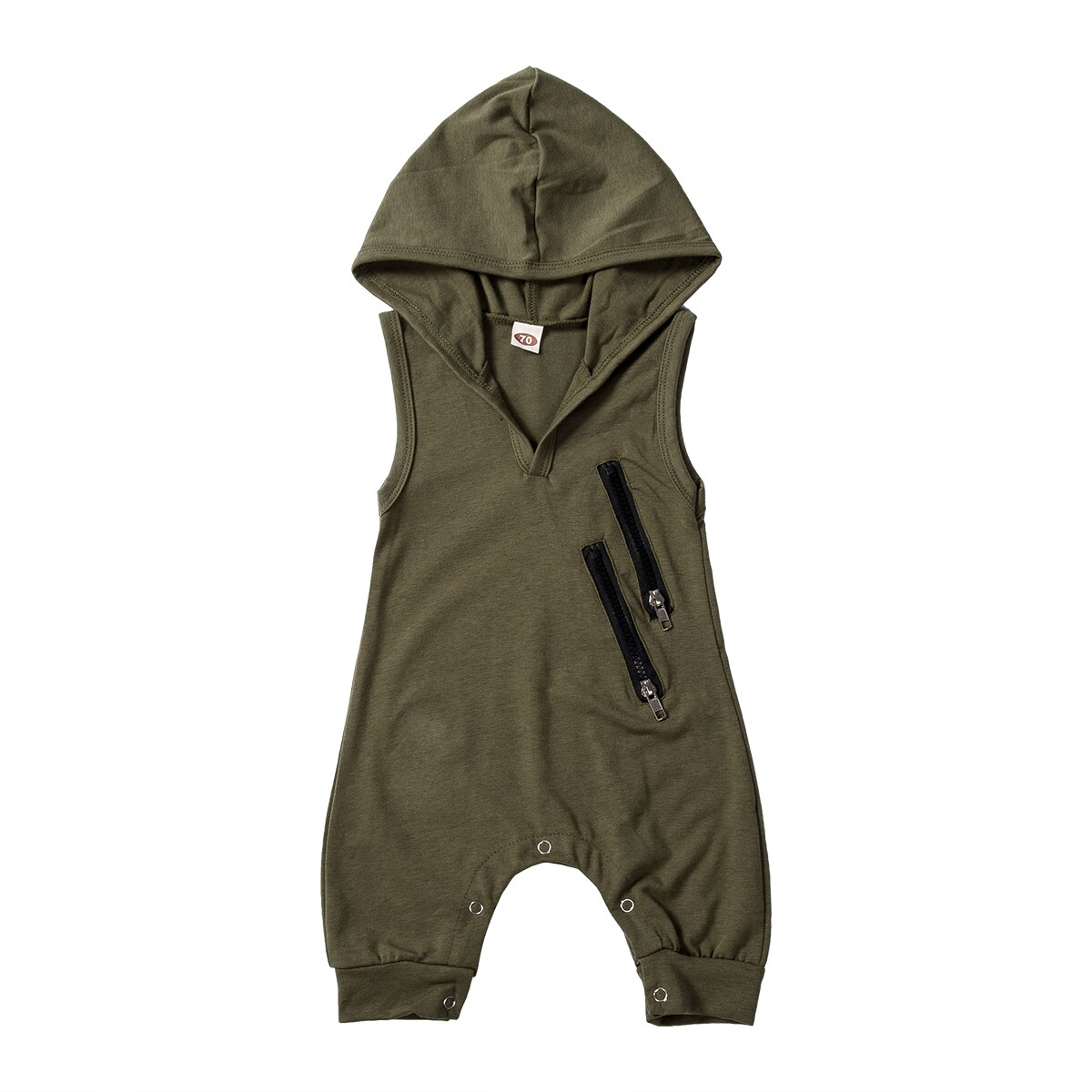 2021 Toddler Newborn Baby Boys Summer Clothing Infant Fashion Hooded Rompers Jumpsuits Camouflage Printed Sleeveless 0-24M