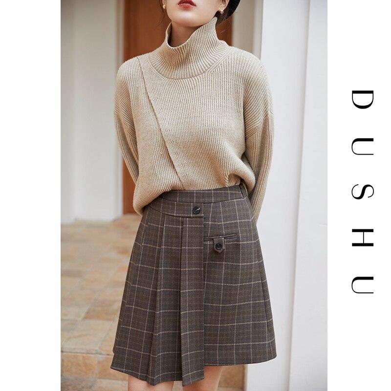 DUSHU حجم كبير خليط منقوشة قصيرة مطوي تنورة المرأة Preppy نمط تنورة عالية الخصر الخريف الشتاء أنيقة صغيرة ألف خط تنورة