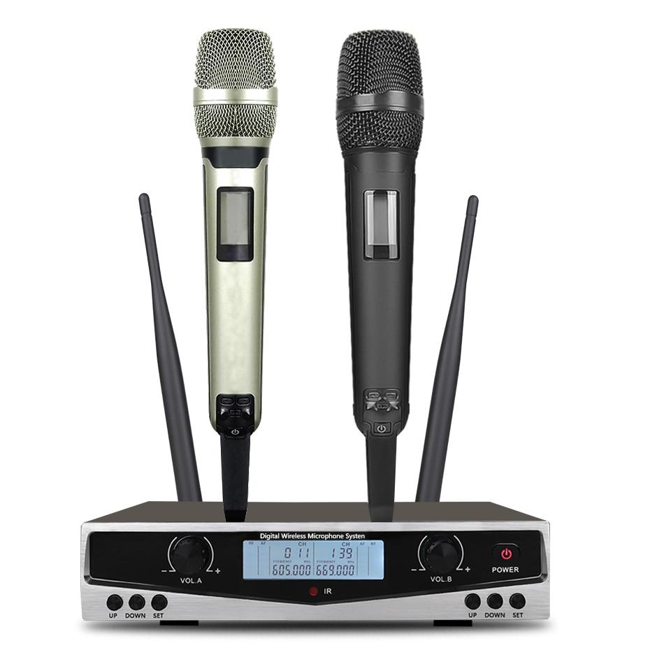 سوم SKM9100 أداء مسرحي منزلي KTV جودة عالية UHF احترافي مزدوج ميكروفون لاسلكي نظام ديناميكي للمسافات الطويلة