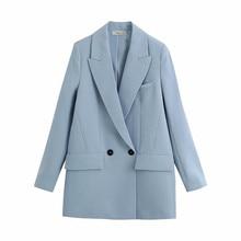 Women Blazer Fashion Office Wear Double Breasted Blazers Coat Vintage Pockets Loose Fitting Female O
