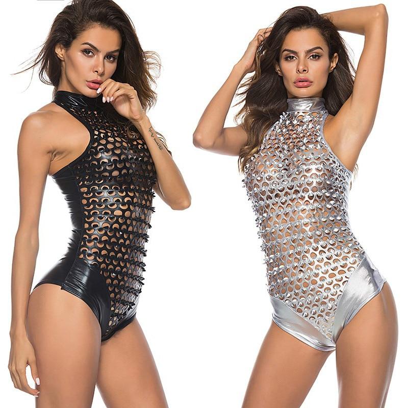 Sexy de couro bodycon vestido feminino plus size fishnet bodysuit clube noturno romance látex lingerie catsuit sexi pólo dança