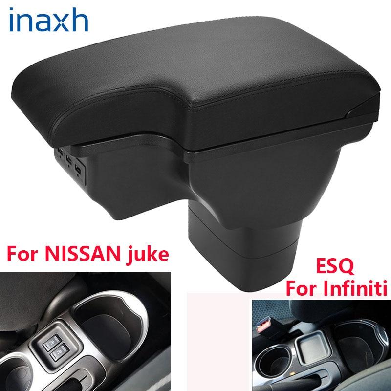 For NISSAN juke Armrest box For Infiniti ESQ Car armrest 2010-2019 accessories interior storage box Retrofit parts USB LED