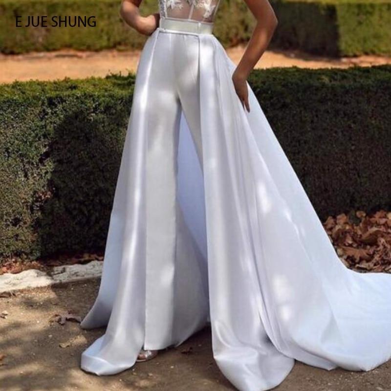 E JUE SHUNG تنورة قابلة للفصل من الساتان الأبيض قابلة للإزالة للفساتين