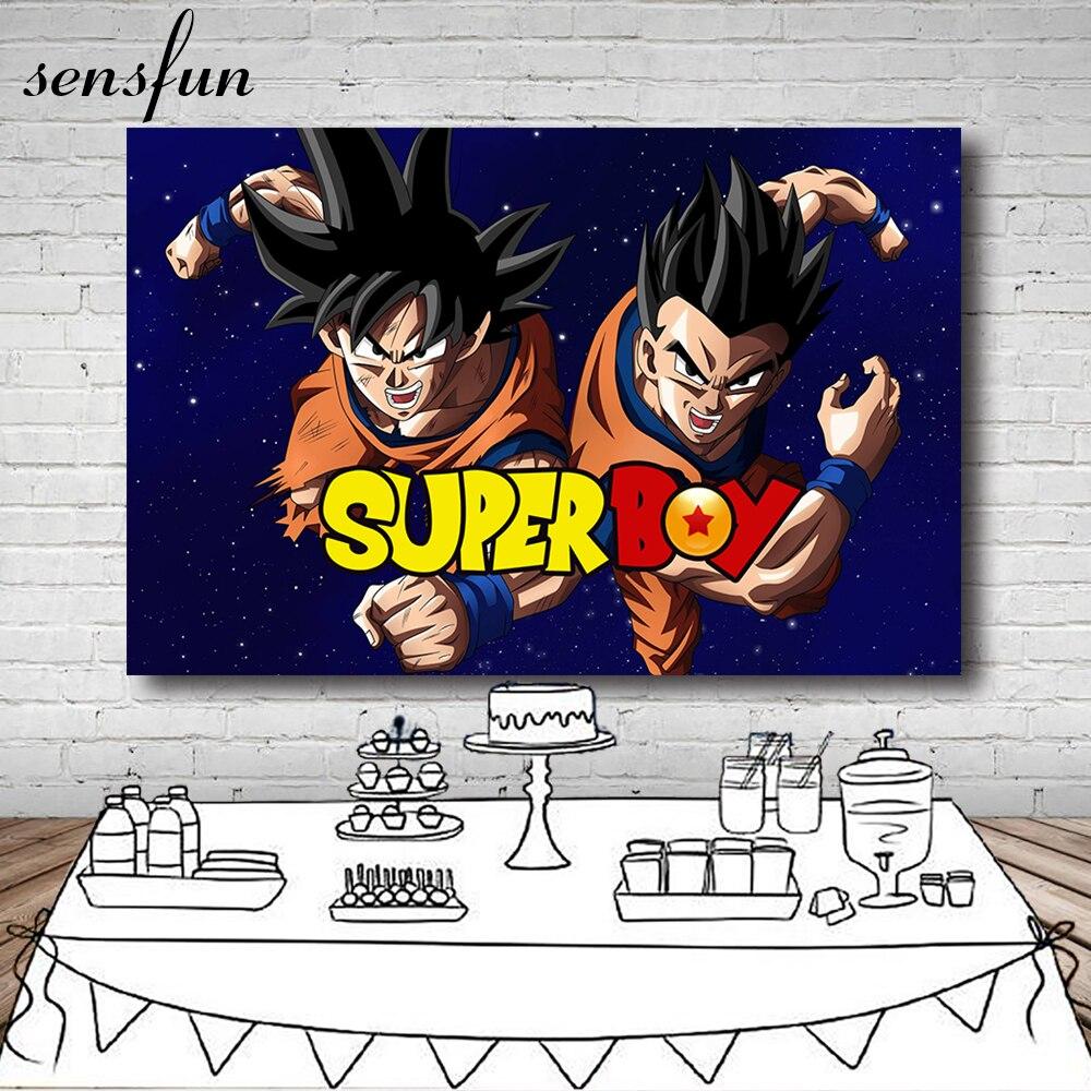 Sensfun Dragon Ball Kakarotto Goku fondo personalizado para estudio fotográfico Super Boys fondos de fotografía para fiesta de cumpleaños 7x5ft