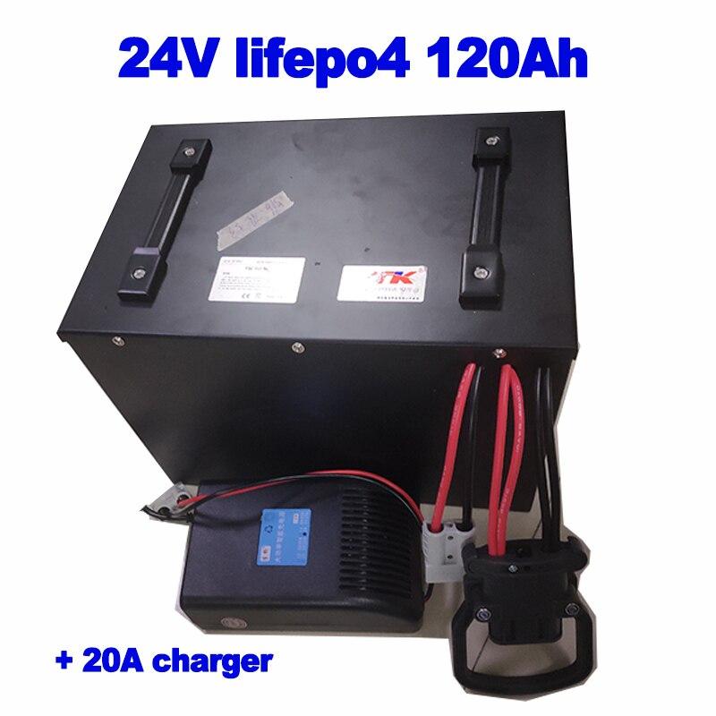 Tamaño personalizado lifepo4 24v 120Ah paquete de baterías para montacargas eléctrico RV almacenamiento solar energía reemplazar akku + 20A cargador
