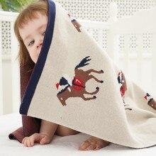 Mantas de punto de algodón para bebé, envoltura súper suave para recién nacido, bonito patrón de dibujos animados, funda de cama para cochecito infantil de 110x90cm