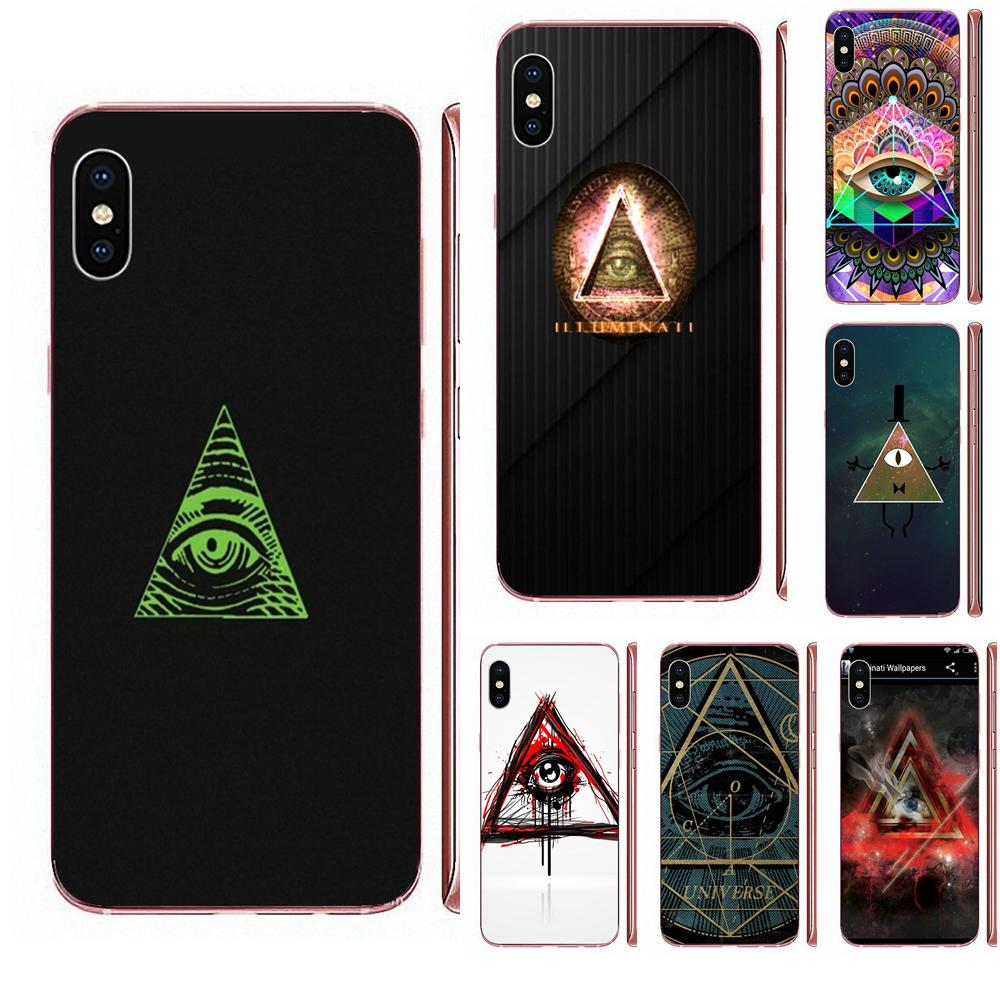 Funda de teléfono con diseño de dibujos animados ojos egipcios logotipo Illuminati para Apple iPhone 11 Pro XS Max XR X 8 7 6 6S Plus 5 5S SE 4 4S