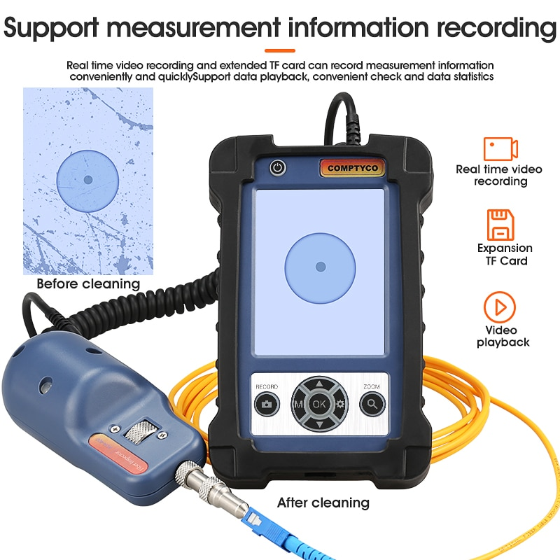 Optical fiber end face High end detector/Fiber Optic Inspection Microscope Probe/Display 3.5 inches/Magnification 400X enlarge