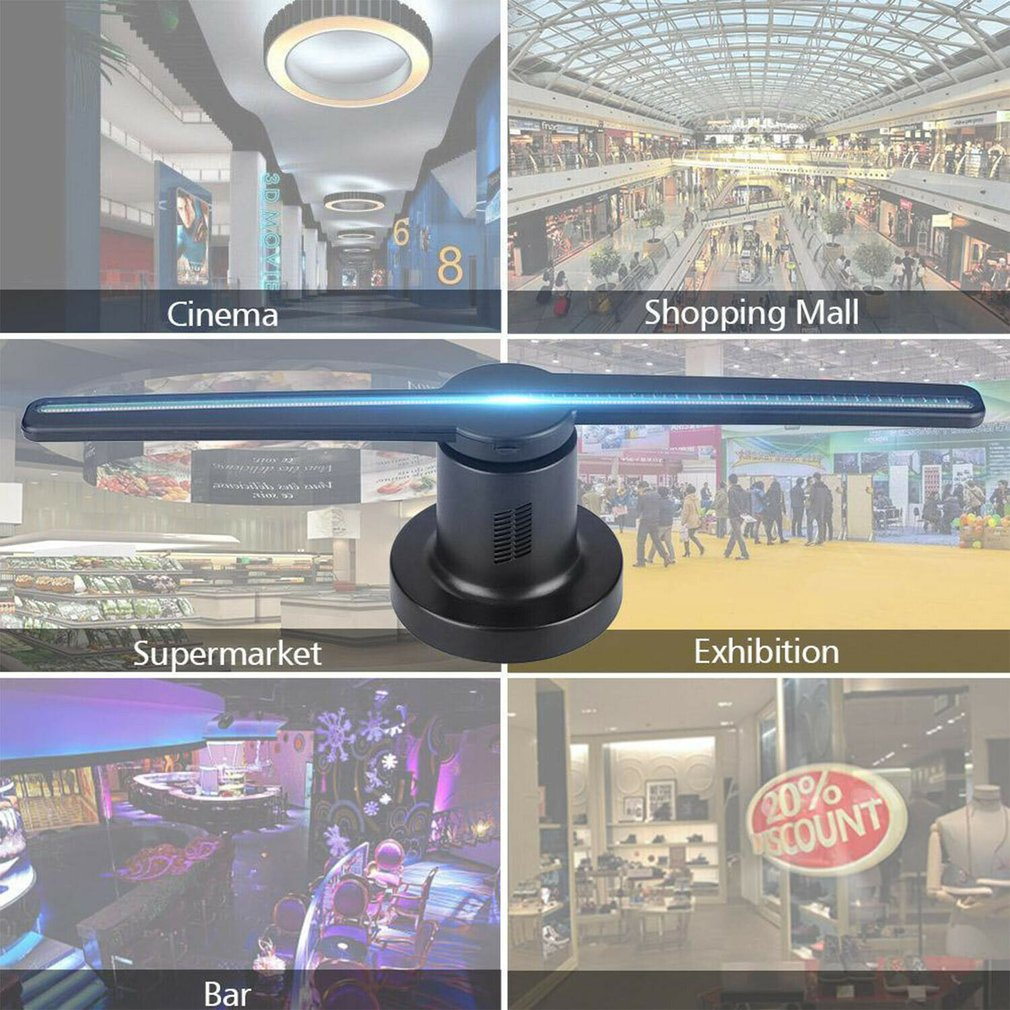 3D EU/US Plug LED Wifi Holographic Projector Display Fan Hologram Advertising Player ACEHE enlarge