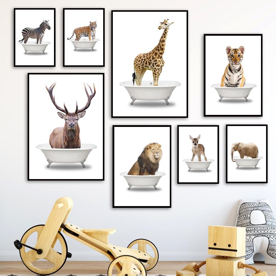 Elefante, León, cebra, jirafa, ciervo, Tigre, bañera, cuadro sobre lienzo para pared, carteles e impresiones, imágenes para pared de baño, decoración para habitación de bebé