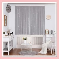 punch free velcro curtains cute star blackout curtains girls kids room colorful double layer star window bedroom drapes