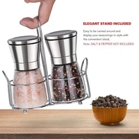 2pcs fashion stainless steel grinder glass body spice salt and black pepper grinder kitchen accessories portable cooking tool