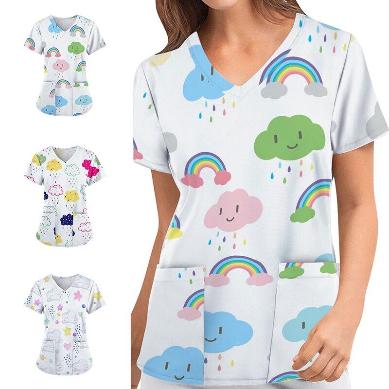 Women Animal Print T-shirts V-neck Carer Top Short Sleeve Uniform Casual Nursing Scrubs Carer Top Care Working Workwear S-3XL