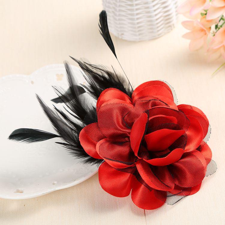 I-Remiel Высококачественная бутоньерка с перьями ручной работы из ткани брошь-булавка в виде цветка для женщин воротник-отворот булавка свадебная одежда и аксессуары