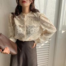 مذهلة الرجعية الربيع الوقت بلوزة التطريز الدانتيل قميص المرأة قميص نفخة الأكمام شفافة قميص فام Blusa Renda Mujer