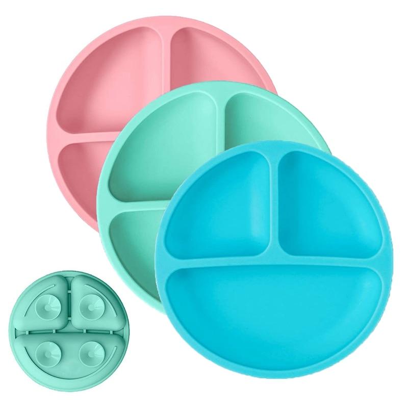 أطباق للأطفال الصغار مزودة بشفط-أطباق للأطفال-100% لوحة مقسمة من السيليكون-خالية من BPA-أطباق آمنة بالميكروويف-طقم من 3