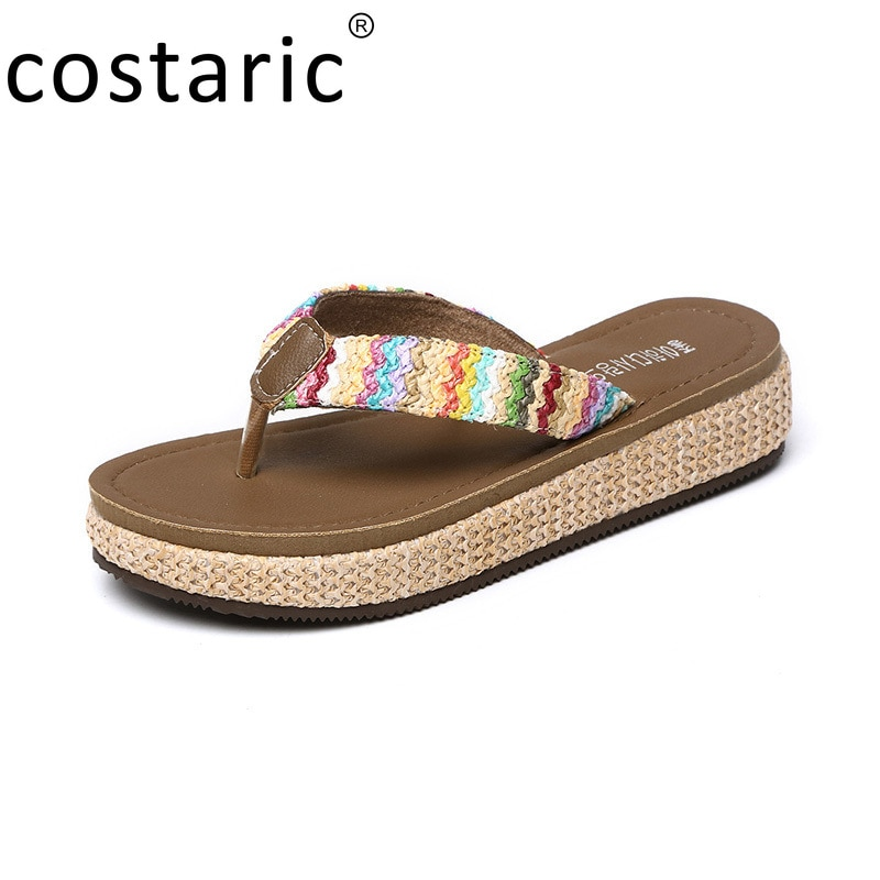 Straw Wedge Flip Flops Women Korean Style Ladies Shoes and Sandals Summer New Slides Beach Thick-soled Rattan Bottom Slippers