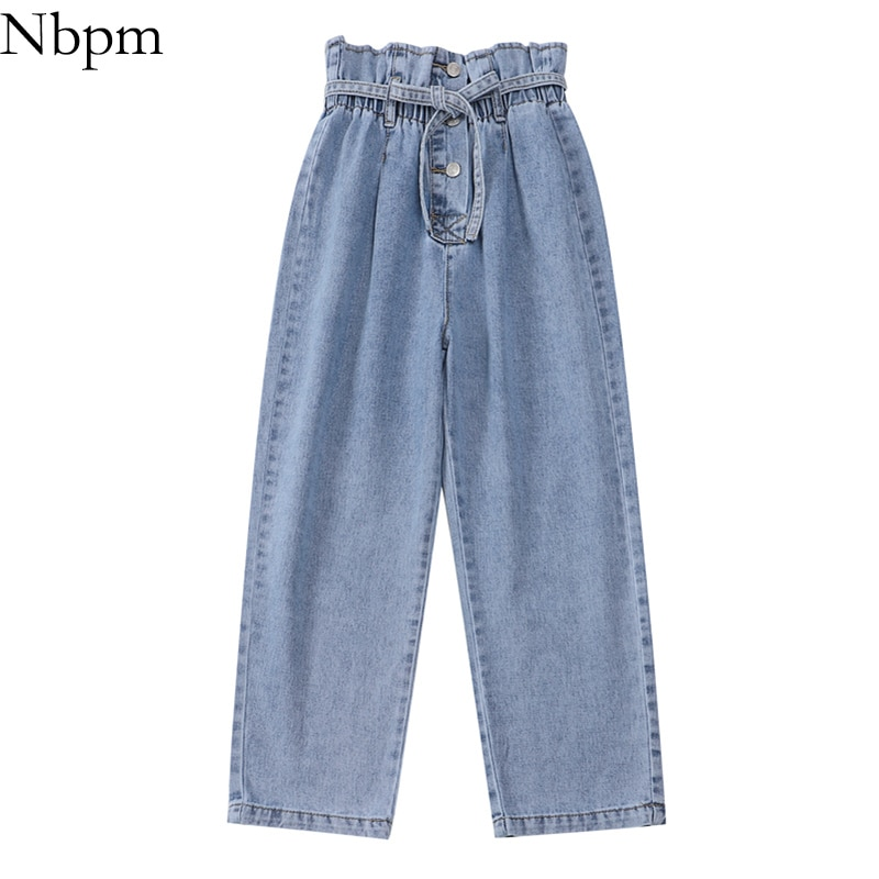 Nbpm 2021 Fashion With Belt Button Baggy Jeans Woman High Waist Streetwear Girls Wide Leg Jeans Trou
