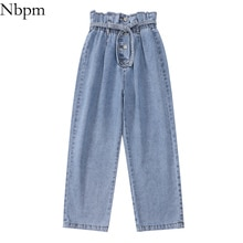 Nbpm 2021 Fashion With Belt Button Baggy Jeans Woman High Waist Streetwear Girls Wide Leg Jeans Trou