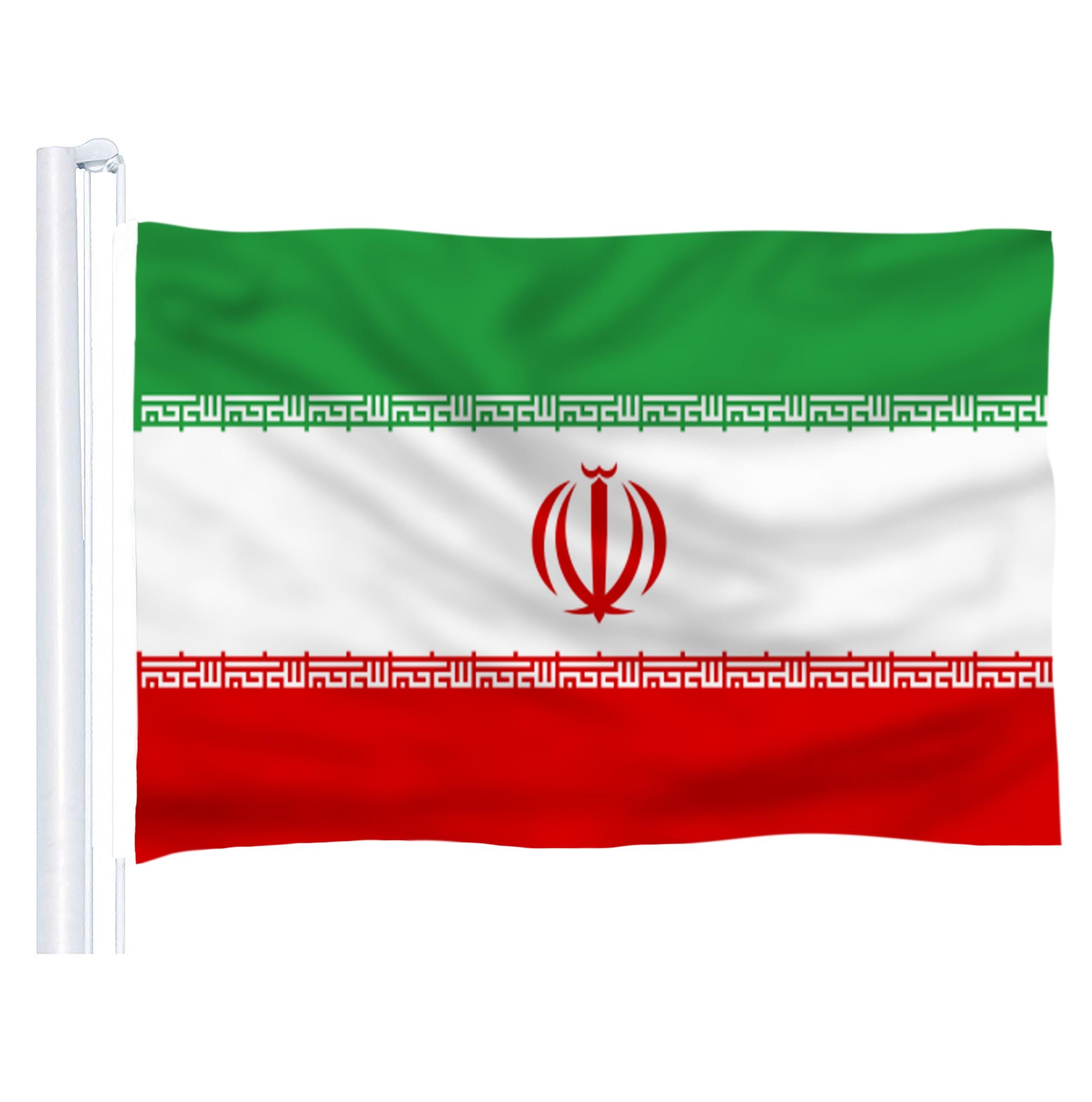 DFLIVE, bandera del país de Irán, 3x5 pies, poliéster impreso, mosca 90x150 CM, Bandera Nacional IR iraní