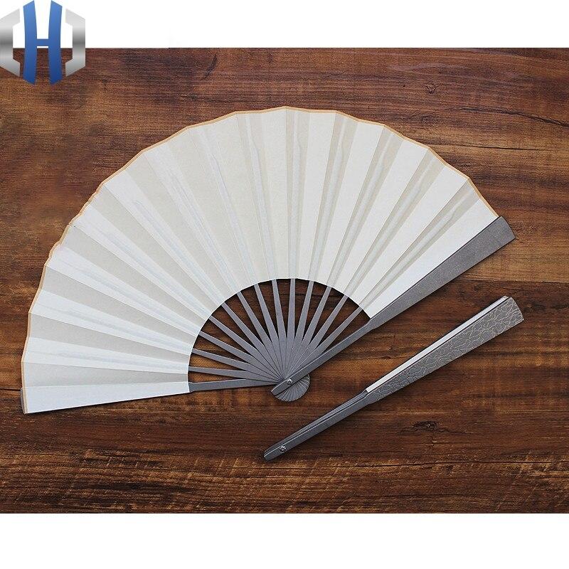 Ventilador plegable de aleación de titanio de 10 pulgadas de espesor EDC, ventilador de defensa de ataque táctico Tai Chi, ventilador de hueso de acero para artes marciales