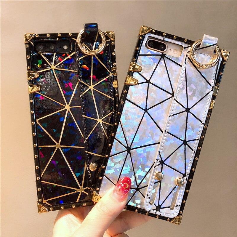 Lujosa y suave funda de silicona para iphone 6, 6S, 7, 7plus, 8, 8plus, X, XR, XS, max, con láser brillante