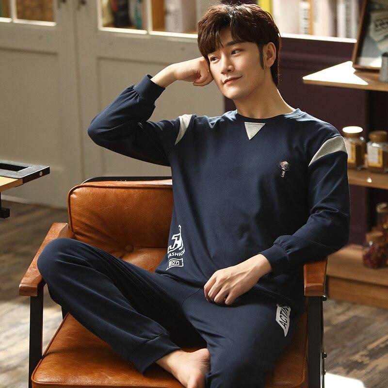 Новинка мужчины пижамы хлопок пижама уют мужчины пижамы осень зима мужчины% 27 пижамы мужчины одежда для сна костюм домашняя одежда 3XL