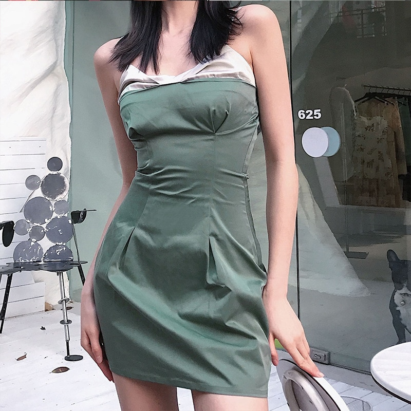One Shoulder Evening Dresses Mini Hollow Out Sexy Leopard Vintage Bodycon Dress 2021 Party Club Outfit Woman Summer Clothes