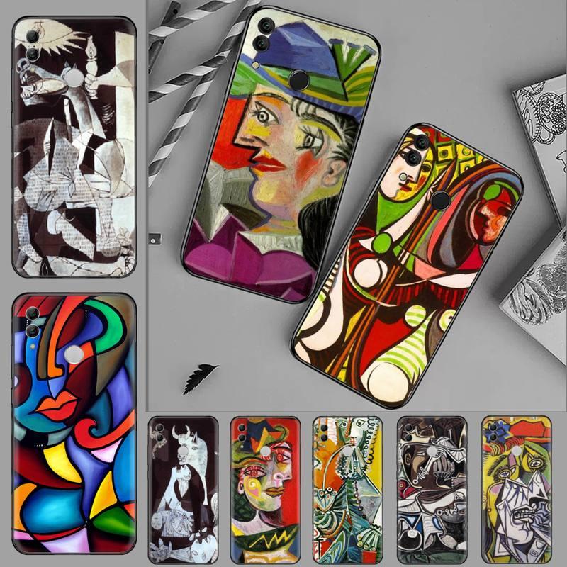Escultura de Picasso pintura arte negro Funda de teléfono de TPU blanda para Huawei Honor 7C 7A 8X 8A 9 10 10i Lite 20 NOVA 3i 3e