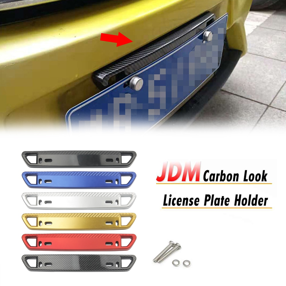 1 pcs car license plate frame stainless steel license plate frame number plate holder front and rear fit eu Adjustable Universal Front Rear Bullet Car License Plate Bracket Holder Carbon filament Number License Plate Mount Frame Accesso