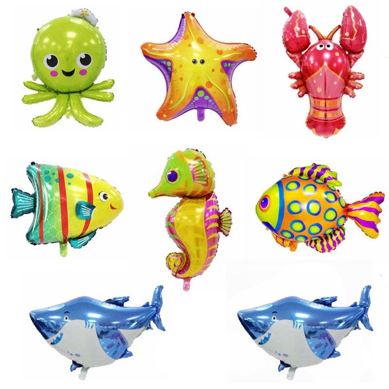 Тема океана серия воздушный шар алюминиевая пленка день рождения день детей морское дно животное акула Осьминог рыба большой шар