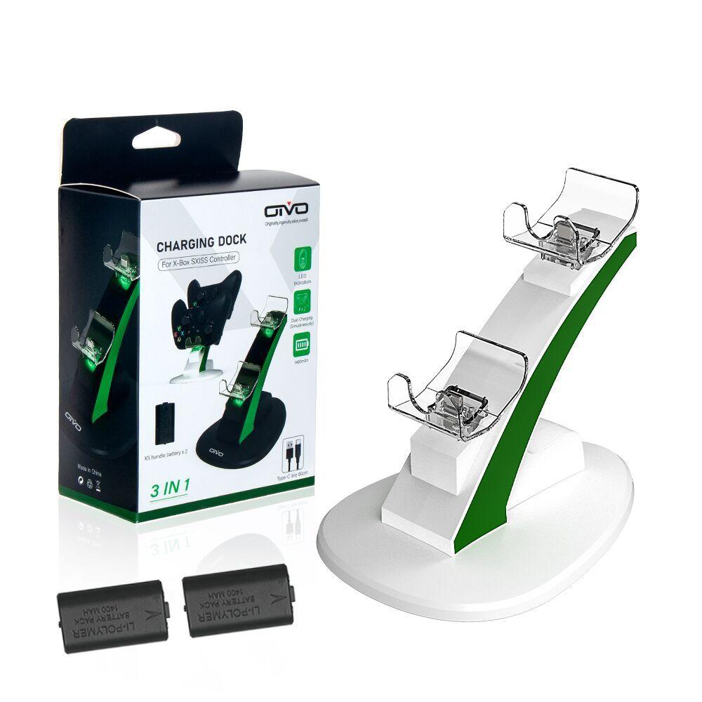 قاعدة شحن لجهاز Xbox Series S X وشاحن البطارية وملحقات وحدة التحكم في الألعاب