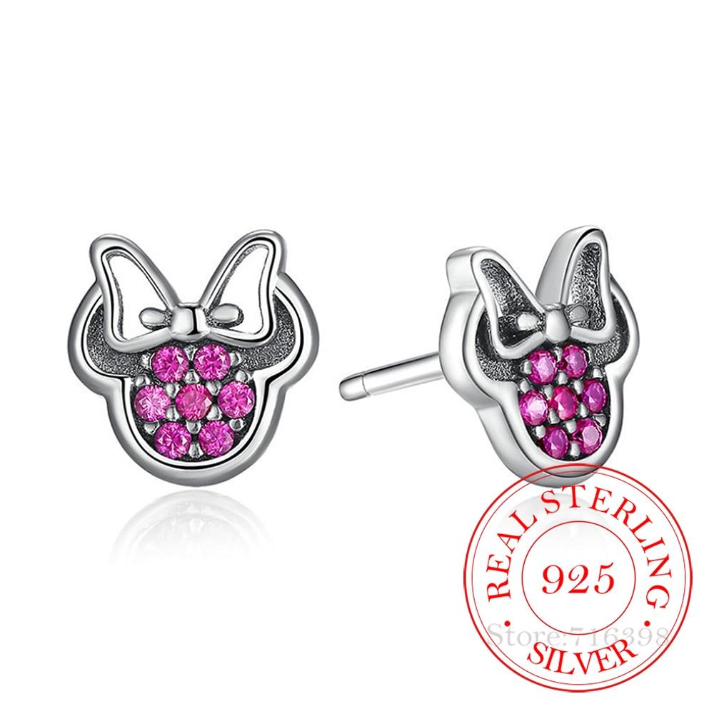 AliExpress - 925 Sterling Silver Crystal Cartoon Animal Charm Stud Earrings For Women Grils Kids Wedding Gift Female pendientes eh020