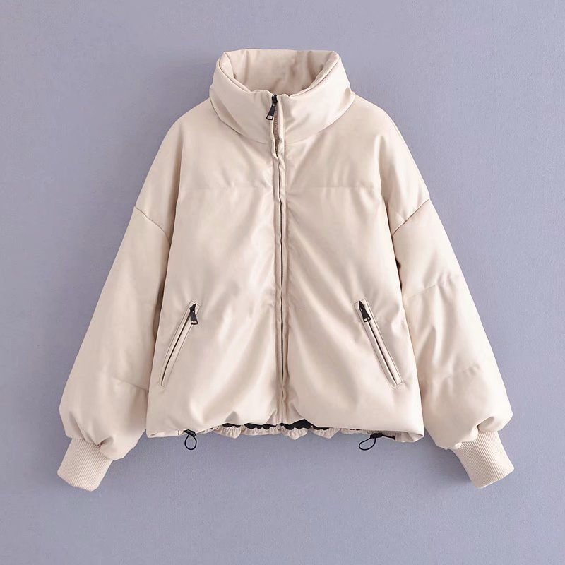 ZXQJ النساء 2021 أزياء فو الجلود وسادة مبطنة سميكة الدافئة معطف بركة (سترة من الفراء بقبعة للقطب الشمالي) خمر طويلة الأكمام الإناث قميص شيك قمم