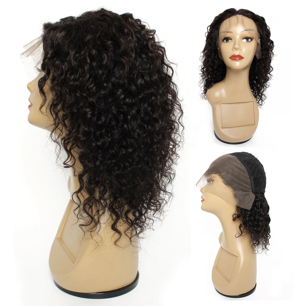 Kisshair water wave 13*4 lace frontal wig natural color ear to ear front lace wig remy Brazilian human hair wig for women