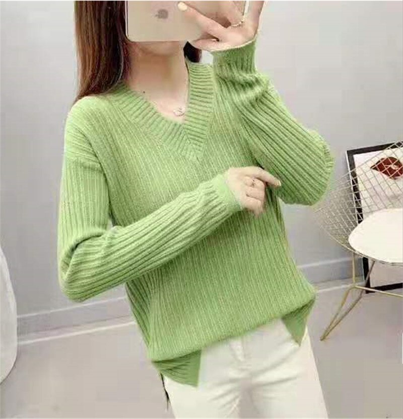 Women knitted cotton 2019 Sweater Autumn and Winter New Loose V-neck bottoming shirt